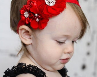 Red Baby Headband, Infant Headband, Newborn Headband, Baby Headband, , Toddler Headband. Red Chiffon and Satin