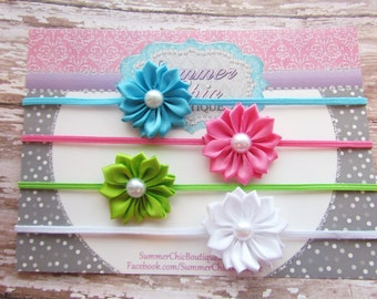 Baby Headband Set of 4, Baby headband, Infant Headband, Toddler Headband, Petite Headband, Small Headband, Summer Headband
