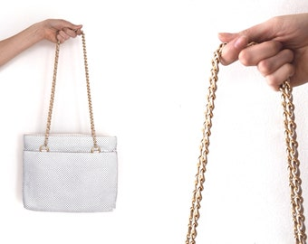 vintage white and gold CHAINMAIL purse