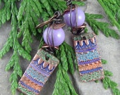 Handmade Purple and Turquoise Earrings Rustic Wire Work Hand Colored Metal OOAK