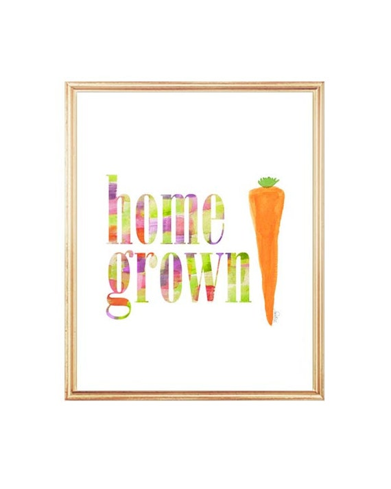 Organic Gardening Print, Vegetable Art, Home Grown, Kitchen Art Print, Farmers Market Art, Kitchen Watercolor, Vegetable Painting, Carrot,