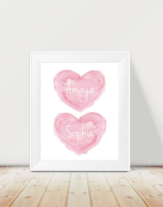 Twin Sisters Artwork in Pink, Personalized 11x14 Print