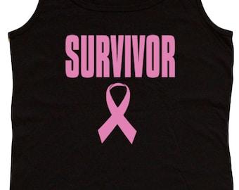 Ladies black tank top / Breast Cancer Survivor