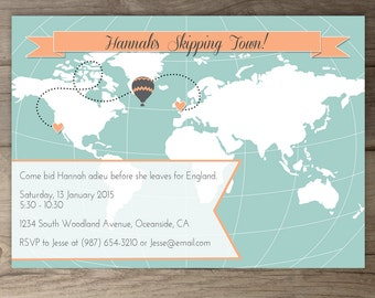 world map going away party invitations goodbye party invites custom moving announcements hot - Goodbye Party Invitation