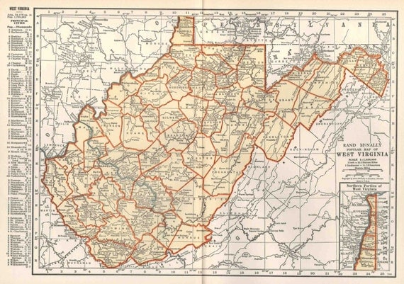 Items similar to West Virginia Map Vintage 1935 Original West Virginia US State Map Rand McNally ...