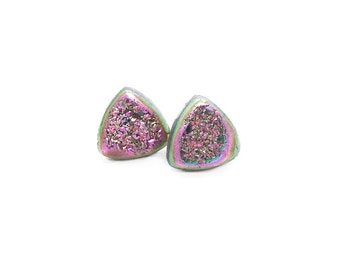 Druzy Earrings Studs, Triangle Earrings, Pink Druzy Earrings, Druzy Studs, Post Earrings, Boho Jewelry, Natural Stone, Agate Earrings