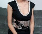 Black chasuble dress / lace obi belt. 11315