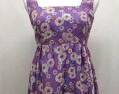 Vintage 60's Purple Flocked Floral Sleeveless Maxi Dress Flower Child Daisy Bridesmaid Hippie Wedding Prom