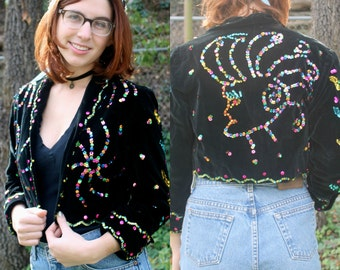 Multicolored Sequined Black Velvet Cropped Blazer (Image on Back)