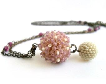 Pink romantic pendant, long pompom necklace, beadwoven necklace,