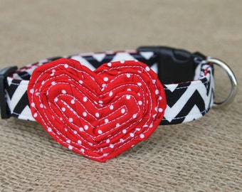 Valentine's Dog Collar - Black Chevron with Red Dot Heart