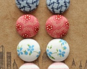 Fabric Covered Button Earrings / 4 Pairs / Blue and Pink / Wholesale Jewelry / Gifts for Her / Birthday Present / Baby Shower Favors / Studs