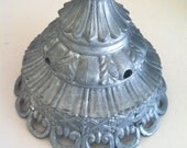 Vintage Ornate Metal Lamp Fitter, Hanging Light Finial Shade Globe Holder Part