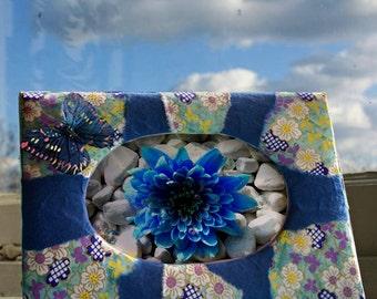 Handmade Patchwork Oval Shaped Photo Frame