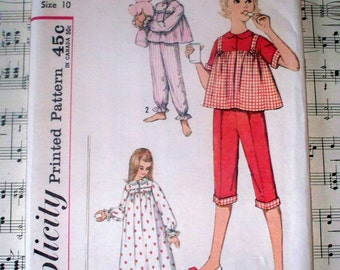 1950s Simplicity Child's and Girl's Nightgown and Pajamas Pattern - 4197 - Size 10 - Uncut Complete