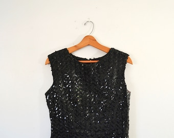 Vintage Black Sequin Top Black Sequin Shirt Sleeveless Sequin Blouse Sequin Shirt Cocktail Blouse