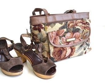 Floral Print Purse Brown Purse Tapestry Purse 80s Purse Boho Purse Floral Print Bag