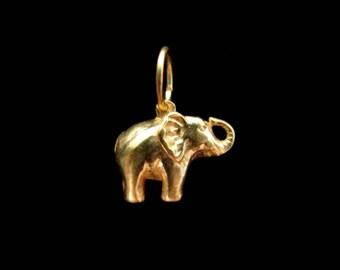 SALE Elephant Charm Gold Vermeil 14mm Lucky Elephant Charm CH203