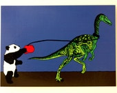 Panda and Dinosaur Go Walkies A6 Postcard Jurassic Panda Jurassic World