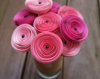 Paper Flower Bouquet - Shades of Pink Paper Flowers with Black Pearls - Handmade Paper Flowers for Brides, Weddings, Showers