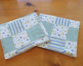 Duck Burp Cloths, Flannel Set of 2 Gender Neutral Unisex Baby Gift Ducks Stripes Plaid Patchwork Baby Shower Gift Nursery Gift New Mom Gift