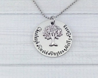 Hand Stamped Family Tree Necklace - sterling silver alternative