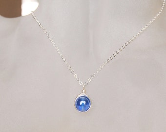 Sapphire Necklace , September Birthstone Necklace , Bridesmaids Necklace , Simple Sapphire Necklace