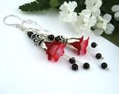 Garnet Red, White Fuschia Flower, Dangle Earrings, Garnet Semi Precious stones, Silver Petals, Lucite Flowers, Nature, Handmade, Victorian