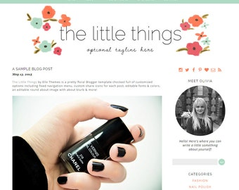 Wordpress Theme - The Little Things Responsive Wordpress Design – instant download