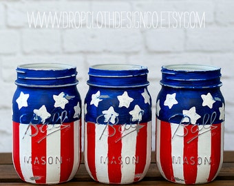American Flag Mason Jars - Red, White, Blue Mason Jars - Stars and Stripes Mason Jars - Pints