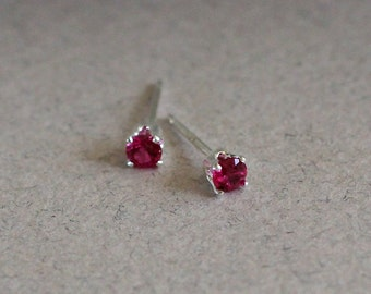 3mm Stud Earrings -  Tiny Ruby Stud Earrings July Birthstone Small Dainty Birthday Gift