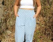 Vintage 80s Polka Dot High-Waisted Pants