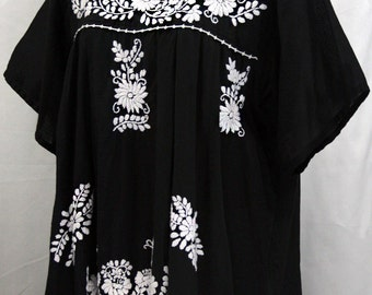"XL Mexican Blouse: ""Mariposa Libre"" by Siren in Black"