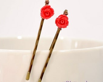 Rose Bobby Pins - Beaded Bobby Pins - Red Rose Hair Pins