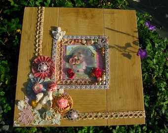 Innocence vintage-style altered art wall hanging