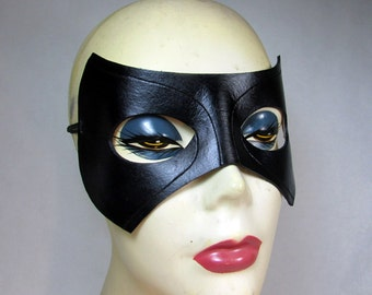 Black Canary Mask, Super Hero Inspired by Laurel Lance of DC's Arrow, handmade in black leather with carved details for cosplay or costume