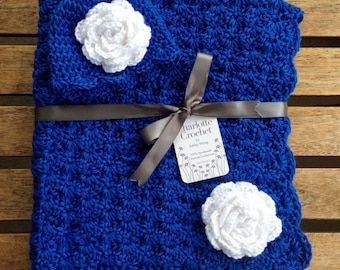 Crochet Baby Blanket with Matching Hat - Royal Blue