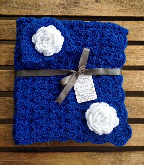 Crochet Baby Blanket With Matching Hat Royal Blue