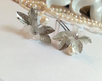 Bridal Hair Pins x2, Hair Pins Wedding, Pearl Hair Pins for Bride, Hair Pins for Wedding, Hair Accessories Bridal, Wedding Hair Pins, Bridal