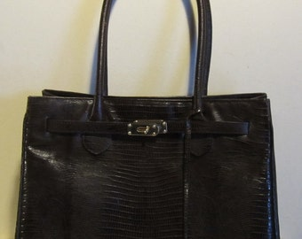 Vintage XL leather handbag. Kelly model, lizard look leather; vg condition, Rogani, Roma, Italy