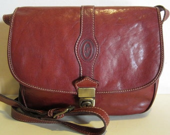 Vintage brown leather bag, with very long strap; I Ponti, Italy; vg condition