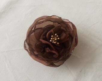 Chocolate Brown Organza Flower Hair Clips Fall Winter Hair Accessories Woodland Flower Crown