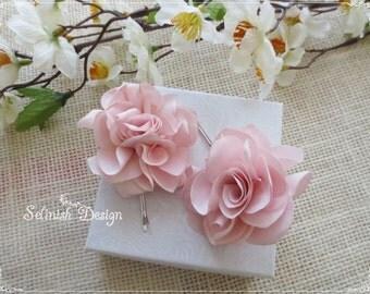 Blush Pink Flower Fascinator, Set of Two Pink Flower Headpiece, Pink Rose Hair, Flower Girl Hair, Flowergirl Gifts