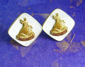 Vintage Lucky Strike Cufflinks indian canoe STRIKE STRAIGHT advertising mother of pearl mop tobacco