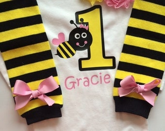 Baby Girl Outfit - bumble bee 1st birthday outfit - 1st bee day- bumble bee birthday party- bee leg warmers - bee shirt -