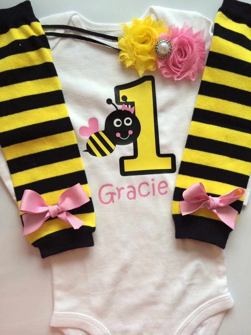 Baby Girl Outfit Bumble Bee 1st Birthday Outfit 1st Bee