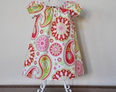 Toddler Girls Dress Peasant Dress Flutter Sleeves or Peasant Sleeves in Gypsy Bandana