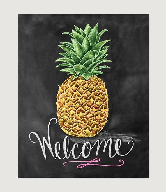 Items Similar To Pineapple Print Pineapple Art