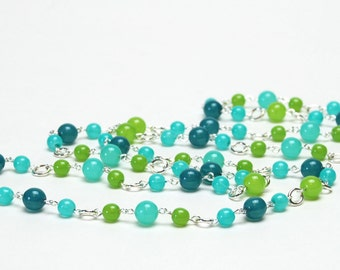 Turquoise and Lime Long Necklace - 36 Inch Hand Dipped Czech Glass Beaded Link and Chain Necklace