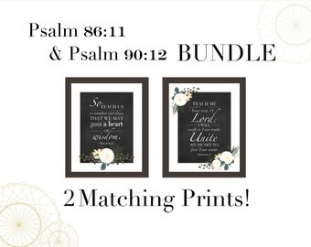 Psalm 86:11 and Psalm 90-12 Scripture SET of 2 Printable Christian Wall Art Home Decor Bible Scripture Print